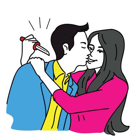 Hermosa novia abrazando a un hombre guapo con una sonrisa, sosteniendo un cuchillo con el objetivo de matarlo o apuñalarlo por la espalda. Ilustración de vector en concepto de amante traidor, parter, relación. Ilustración de vector