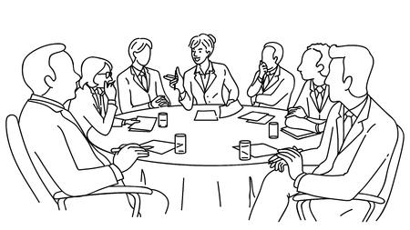 Slimme zakenvrouw als leiderschap, presenteren in vergaderruimte, bedrijfsconcept in slimme en sterke vrouw, feministe, feminisme. Lineaire, dunne lijntekeningen, handgetekende schetsontwerp, zwart-wit stijl.