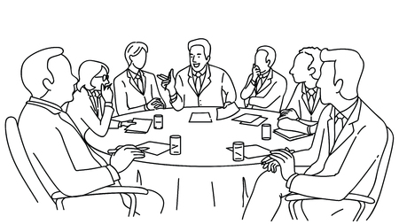Smart business leadership presenting in meeting room, business concept in partnership, diversity, corporate, conference. Outline, linear, hand drawn sketch design. Black and white style.