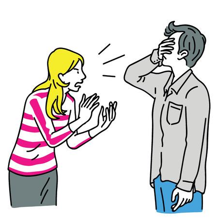 Blonde et jeune femme, en colère et criant à son mari qui se couvre le visage avec la main. Contour, dessin au trait fin, conception de croquis linéaire et dessiné à la main.