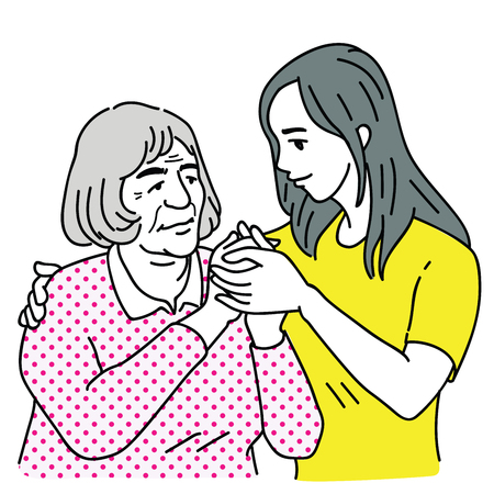 Young woman embracing, taking care, looking after her old grandmother who has Alzheimers disease. Outline, linear, thin line art, doodle, hand drawn sketch design.