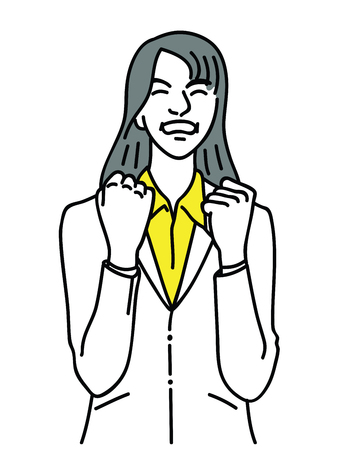 Vector illustration portrait character of businesswoman, holding two hands, fists, in concept of success, excitement, victory, winning, achievement. Linear, thin line art, doodle, hand drawn sketch.