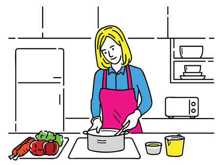 Vector illustration of young pretty woman, cooking alone in the kitchen in concept of dieting, healthy, housewife lifestyle, or prepare for food. Outline, linear, hand drawn sketch style.