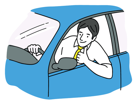 Vector illustration of young man, giving thumb up, smiling, happy, in new car. Outline, linear, thin line art, hand drawn sketch design. Çizim