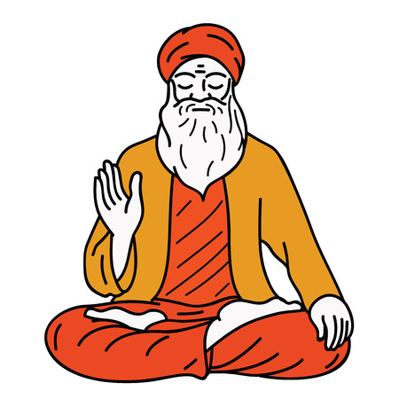 Vector illustration character of Guru, making meditation, raising one hand. Outline, linear, thin line art, hand drawn sketch design. Color layers are editable.