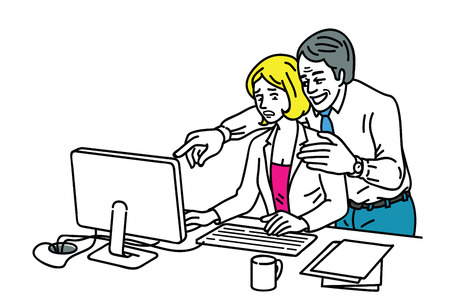 Businessman sexually harassing by touching her arm and closed to young female office worker who sitting at workplace. Illustration