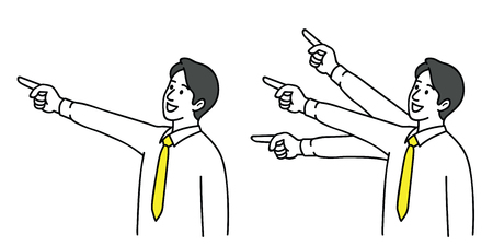 Vector illustration character of male office worker, with finger and pointing at blank space. Outline, linear, thin line art, hand drawn sketch design, simple style.