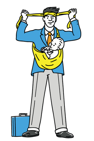 Businessman prepare himself going to work, holding baby under his arms, both working with feeding baby, business concept in super Dad or super father, family life, fatherhood.