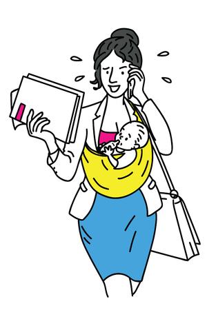 Donna di affari che cammina e va a lavorare in fretta, con il bambino che tiene in tempo molto occupato. Concetto di business in multi-tasking, super madre, essere madre e lavorare allo stesso tempo.