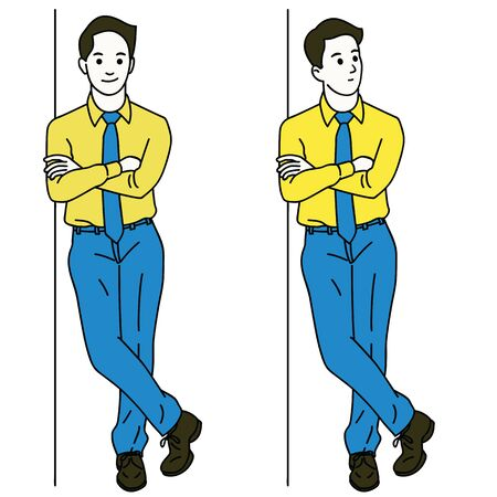 Vector illustration character of young businessman standing and lean against the wall, thinking somthing and smiling. Full length or body. Linear, thin line art, simple design. Vektorové ilustrace