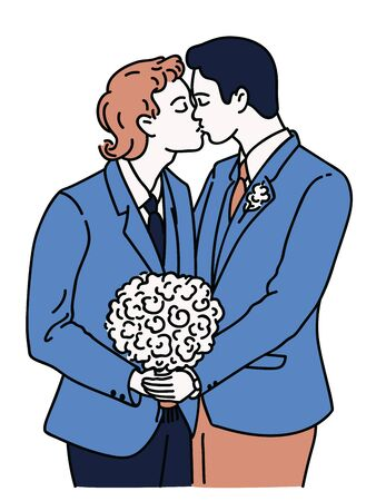 Couple of gay men get married in wedding day, holding flower and kissing each other. Vector illustration charater, linear, hand drawn sketch, thin line design, simple style.