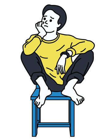 Man, in casual cloth, sitting alone on chair, chin up with elbow on leg, and thinking of something. Character design, linear, thin line art, hand drawn sketch.