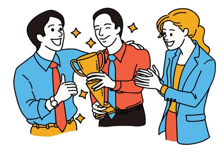 Businesspeople, friends and office colleague, give thumb up, applaud and congratulation to excellent employee who holding trophy and winning award. Line art, simple design.