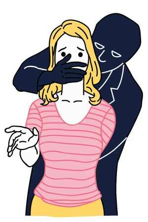 Innocent woman being attacked by covering mouth by man's hand, in concept of sexual harassment, domestic violence, kidnapping, or rape. Linear, thin line art, hand drawn sketch.