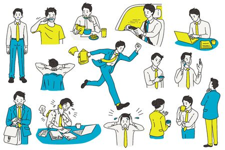 Vector illustration character design of businessman, various actions and activities, at workplace and office. Outline, linear, thin line art, hand draw sketch, simple style. Vector Illustratie