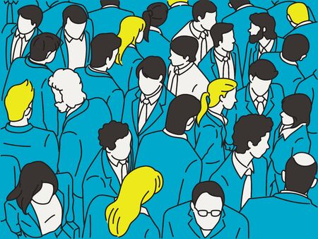 Vector illustration character of crowd businesspeople walking, from bird's eye view or aerial view.  Outline, thin line art, hand drawn sketch design, simple style.
