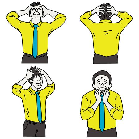 Vector illustration character portrait of businessman expressing feeling of shocked, crazy, mad, scared, nervous, and worried. Outline, linear, thin line art, hand drawn sketch, simple style. Vettoriali