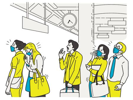 Man is sneezing ,while queing and waiting for train in public, make other people nervous and scared of virus infection as Coronavirus outbreak. Outline, linear, thin line art style.