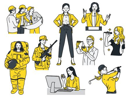Smart and powerful women concept, various multi-ethnic characters of woman in many job and occupations, businesswoman, engineer, astronaut, scienctist, golfer, singer, politician, soldier. Linear, thin line art design.