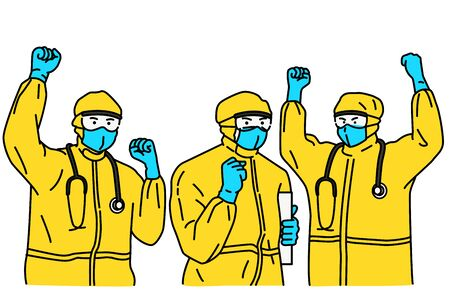Doctors, wearing hazmat suit or protection suit,  raising fists in the air in concept of fighting against Coronavirus or Covid-19.  Outline, linear, thin line art, hand drawn sketch design, simple style.