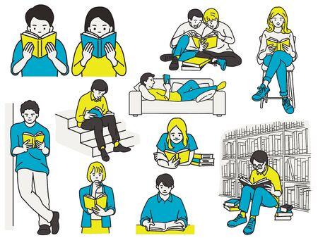 Carattere di illustrazione vettoriale di molte persone che leggono libri in varie pose, scrivania, divano sdraiato, sedia seduta, in piedi contro il muro, in biblioteca. Schizzo disegnato a mano.