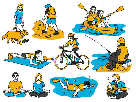 Various activities people having recreation, walk the dog, hiking, canoeing, cycling, go fishing, meditation or exercise at home, scuba diving, playing quitar. Outline, thin line art, linear style. 免版税图像 - 154333848