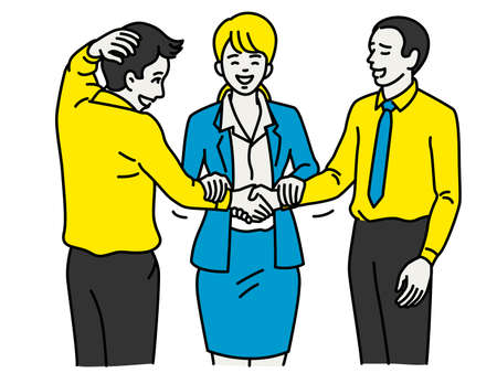 Businesswoman standing in a middle and mend their work relationship and tension between two colleagues who has problem in team. Business concept in reconcilation. Outline, linear, thin line art, simple design.
