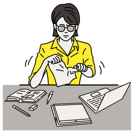 Stressed and depressed businesswoman sitting at workplace, tearing document paper apart. Vector illustration character, outline, linear, thin line art, hand drawn sketch, simple design.