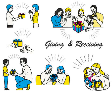 Vector illustration character set of member in family giving and receiving a gift box and greeting card in occasion of happy new year. Outline, hand drawn sketch, thin line art. Vector Illustratie