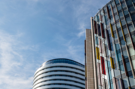 low angle views: LONDON, UK - AUGUST 22, 2015:  Low angle view of modern office buildings in London.