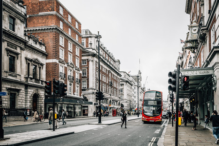LONDON, UK - AUGUST 24, 2015: View of Piccadilly Street. Piccadilly Street is a commercial  in the City of Westminster, London. Editorial