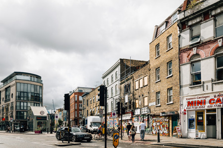 foodies: LONDON, UK - AUGUST 23, 2015: Bethnal Green Road. It´s located in Shoreditch, near Brick Lane Market.