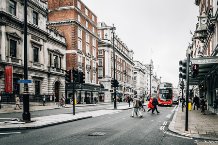 westminster city: LONDON, UK - AUGUST 24, 2015: View of Piccadilly Street. Piccadilly Street is a commercial  in the City of Westminster, London. Editorial