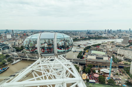 millennium wheel: LONDON, UK - AUGUST 23, 2015: London Eye´s structural detail in a cloudy morning. The London Eye is giant Ferris wheel on the South Bank of the River Thames in London. Also known as the Millennium Wheel. Editorial