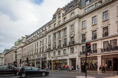 regent: LONDON, UK - AUGUST 20, 2015: View of Regent Street in London. Regent Street is one of the major shopping streets in Europe.