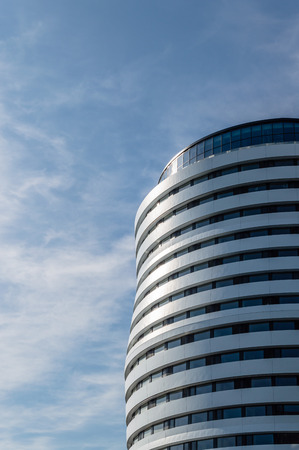 low angle views: LONDON, UK - AUGUST 22, 2015:  Low angle view of an office building in London.