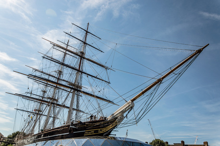 sark: LONDON, UK - AUGUST 22, 2015: Greenwich, London, Cutty Sark is a British clipper ship. She was one of the last tea clippers to be built and one of the fastest.