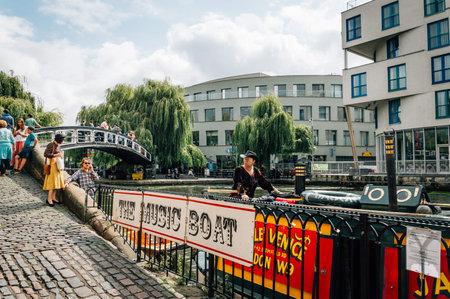 regent: LONDON, UK - AUGUST 20, 2015: Regent Canal near Camden Town Market, famous alternative culture shops. Cloudy day