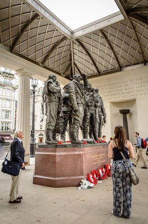 aircrew: London, UK - August 19, 2015: People at The Bomber Command Memorial commemorates the 55,573 who died while serving in the Bomber Command during the Second World War.