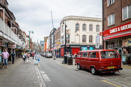 foodies: LONDON, UK - AUGUST 23, 2015: Brick Lane is a street in east London, It is famous for its many curry houses and for being a vibrant art and fashion area