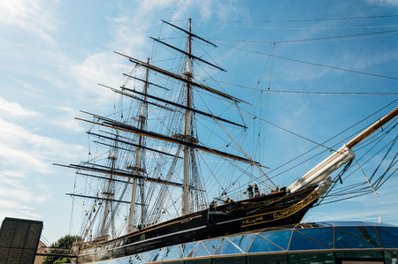 fastest: LONDON, UK - AUGUST 22, 2015: Greenwich, London, Cutty Sark is a British clipper ship. She was one of the last tea clippers to be built and one of the fastest.