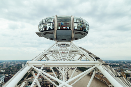millennium wheel: LONDON, UK - AUGUST 23, 2015: London Eye�´s structural detail in a cloudy morning. The London Eye is giant Ferris wheel on the South Bank of the River Thames in London. Also known as the Millennium Wheel.