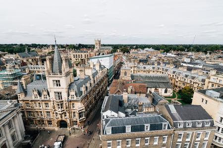 high angle: High angle view of the city of Cambridge, UK