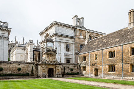 campus tour: CAMBRIDGE, UK - AUGUST 11, 2015:  Court in the Gonville & Caius College in the University of Cambridge. Cambridge is a university city and one of the top five universities in the world.