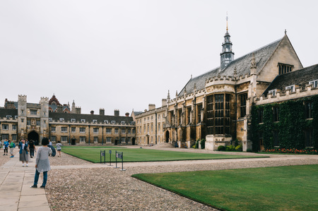 campus tour: CAMBRIDGE, UK - AUGUST 11, 2015:  Trinity College Great Court in the University of Cambridge. Cambridge is a university city and one of the top five universities in the world.