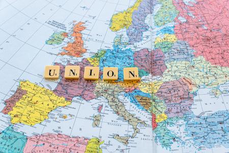 european map: Union word on european map. The United Kingdom European Union membership referendum on 23 June 2016