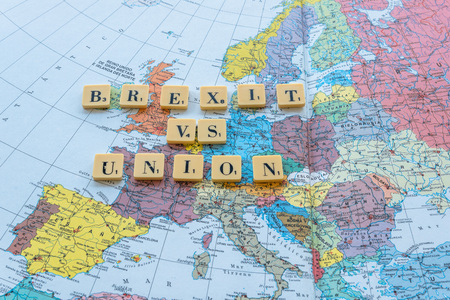 yes or no to euro: Brexit vs Union words on european map. The United Kingdom European Union membership referendum on 23 June 2016