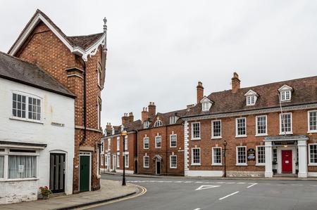 stratford upon avon: Empty street in Stratford Upon Avon a cloudy day Stock Photo