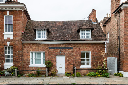 brick house: Typical brick house in Stratford Upon Avon a cloudy day