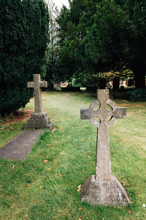 Tombstones at an old graveyard in Stratford Upon Avon, UK. Cloudy day